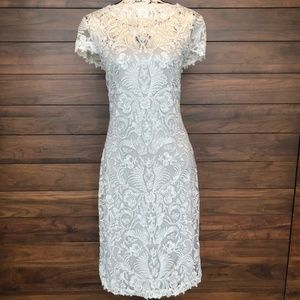 Short Sheer Sleeve Embroidery White Cocktail Dress